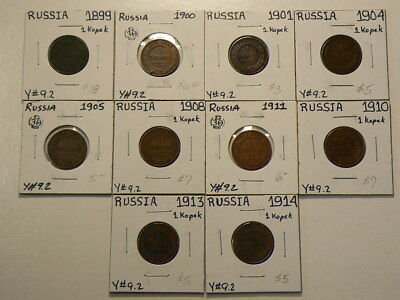 Russia 1899 to 1914 1 Kopeks Lot of 10 Date Set Collector Grades #G7720