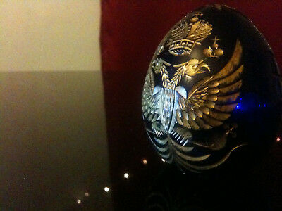 Modern Faberge Hand Engraved Blue Glass Imperial Egg St Petersburg