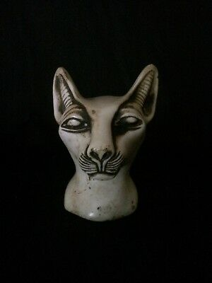 ANCIENT EGYPTIAN ANTIQUE BASTET Ubaste Bast CAT EGYPT Head STATUE Stone BC