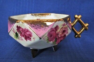 Art Deco Octagon Shape Tea Cup Floral /Gold/ Iridescent 3 Footed