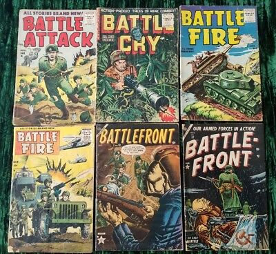 War Comic Lot (6) - Battle Front, Attack, Fire, Cry