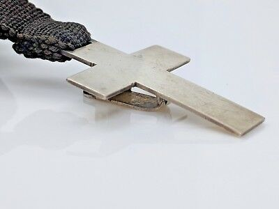 Vintage Sterling Silver Black Ribbon Cross With Three Letters Pgs Bookmark