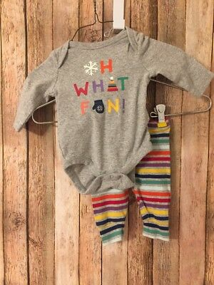 Baby Gap Outfit 0 3 Month Bodysuit Leggings Winter Rainbow Snow SOFT Girl Boy
