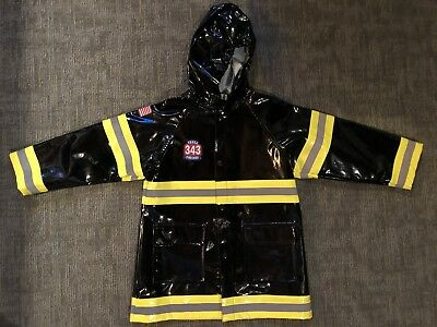 Western Chief Kids Boy Fire Fighter Rain Coat Size 4/5 Black Yellow Costume