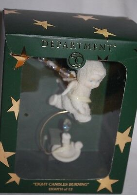 "Dept 56 Snowbabies 12 Days of Christmas ""EIGHT CANDLES BURNING"" Ornament MIB"