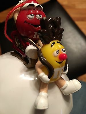 Red & Yellow M&M Christmas Ornament with Sleigh Green Ball w/Gift Storage Inside