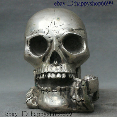 Collect Old China Dynasty Palace Silver Wealth Skull Head Arts and Crafts Statue