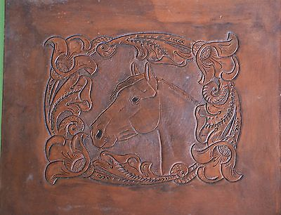 "Vintage tooled/stamped leather panel horse head equestrian horses pony 12"" x 11"""