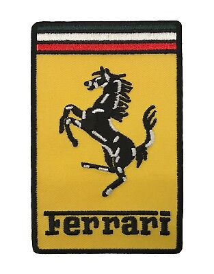 Ferrari Rectangular Embroidered Patch, Iron/ Sew On (4X2.5IN)