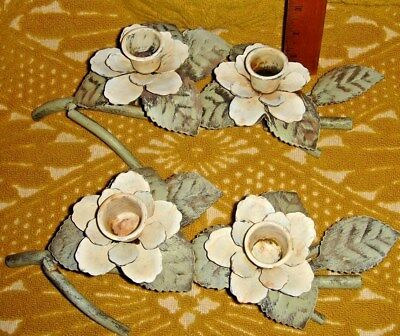 VTG SHABBY FRENCH COUNTRY FLOWER CHIPPY TOLE WROUGHT IRON CANDLE HOLDERS SET 2pc
