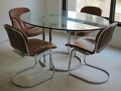 """1970's ITALY- """"CIDUE"""" DINING GLASS-5/8"""" TABLE SET (6 LEATHER CHAIRS),"""