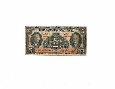 The Dominion Bank, Canada, 1935, 5 dollars.  Small size banknote.  Circulated.