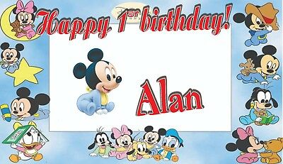 Custom  Birthday Banner Personalized  Minnie , or Mickey Mouse  (52x30) inches