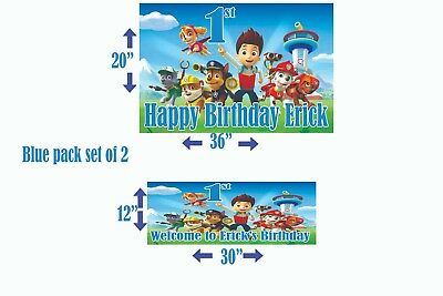 Paw Patrol Birthday Banner Personalized Set Of 2 Pink Or Blue X2