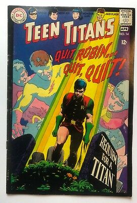 Teen Titans #14 (D.C. - 3-4/1968) HIGHER GRADE - Great Silver Age cover!