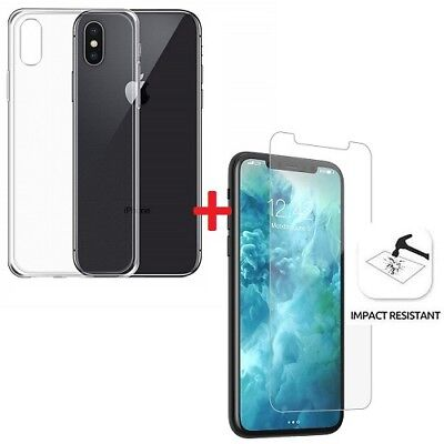 Clear Gel Case Cover &Tempered Glass Screen Protector For Apple iPhone XS Max
