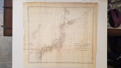1855 Antique Map of Japan by Lts Maury and Bent of the Perry Expedition