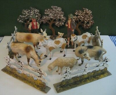 Antique Composition Cows Fence Trees People Sheep Putz Nativity Railroad German?