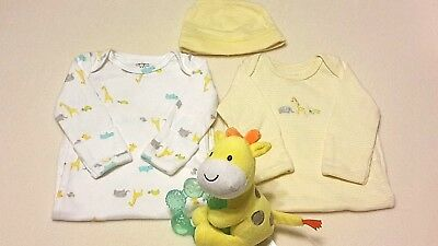 2 Baby Boy Girl CARTERS Newborn Gowns with Cap and Giraffe Teether Reborn Doll