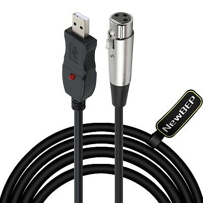 USB Microphone Cable, NewBEP 3 Pin USB Male to XLR Female Mic Link Converter ...