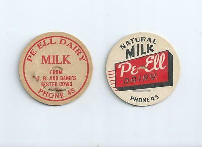 """Two different """"Pe Ell Dairy""""   Pe Ell, Wash.  milk bottle caps."""