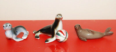 3 SMALL BONE CHINA SEALS free S&H MINIATURES cute trio SEA LION