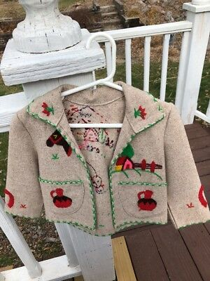 Vintage Mexican Wool Child's Coat Embroidery Tan horse jug Donkey 1950's