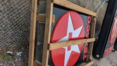 TEXACO STAR SIGN -  NOS - New - Double Sided - Still In Crate