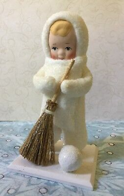 DEPT 56  SNOW ANGELS Collection By ELAINE ROESLE W/BROOM & SNOWBALL