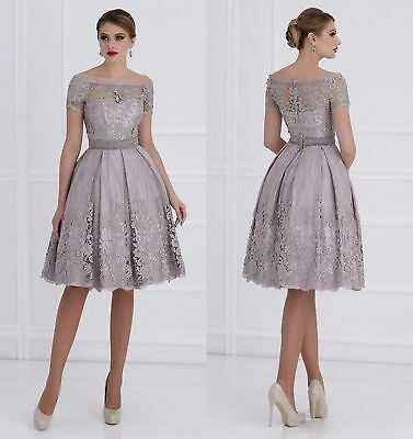 Elegant Silver Gray Wedding Mother Of The Bride Dresses Lace Knee Length US 14