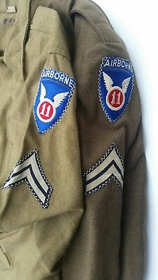 WWII US Army 11 Airborne 27 Infantry Jackets Named Laundry ID Cross Stitch Patch