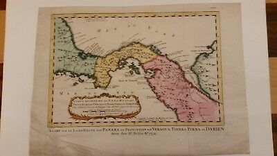 1754 Antique Map of the Isthmus of Panama, Veragua, and Darien by Bellin