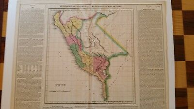 1822 Geographical, Statistical, and Historical Map of Peru by Carey and Lea