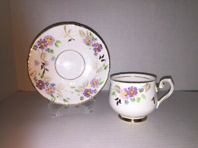 Phoenix China England Tea Cup And Saucer Purple Flowers Gold Trim