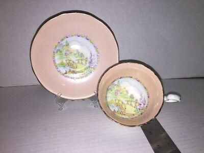 Royal Staffors Bone China Tea Cup And Saucer Pink Bridge Scene Englad