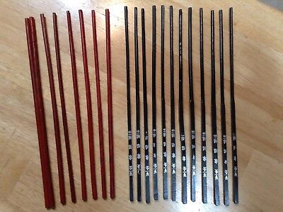 20 Vintage Red & Black WOODEN ORIENTAL CHOPSTICKS w/Japanese or Chinese Writing