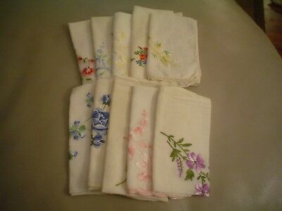 Lot of 10 White Vintage Handkerchiefs with Embroider Flowers – Gently Used