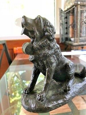 Heredities St. Bernard Dog Sculpted by J. Spouse, Bronzed Finish Resin.
