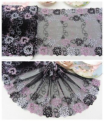 """8/""""*1Y Embroidered Floral Tulle Lace Trim~Black+Light Pink~Mickey and Minnie~Cute"""