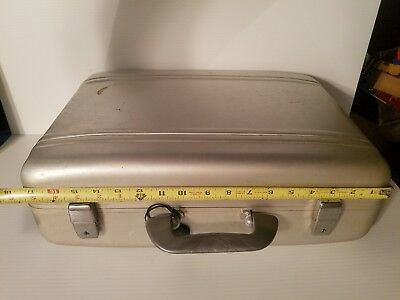Vintage Silver Aluminum Briefcase/Laptop Case With Foam for Camera. Comes w keys