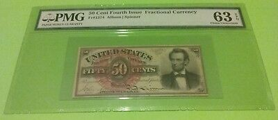 Pmg 63 Epq - 50 Cent 4Th Issue Fractional Note - Fr#1374  (The Famous Lincoln)