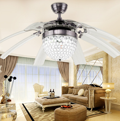 """Invisible Crystal Ceiling Fan Light Take Off Remote Control Lamp 42""""  8Blade"""