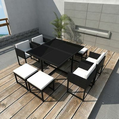 21 PCS Outdoor Patio Dining Set Metal Rattan Wicker Furniture Garden Cushioned