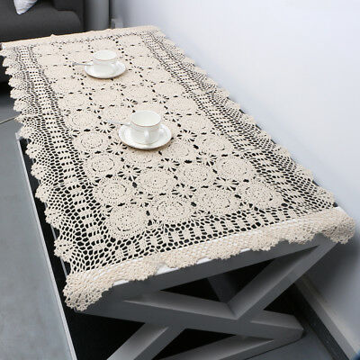 Rectangle Tablecloth Vintage Hand Crochet Cotton Lace Table Cloth Doily Wedding