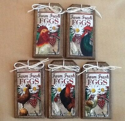 5 Wooden Handcrafted FARM FRESH EGGS Ornaments/HangTags/Bowl Fillers Set.5