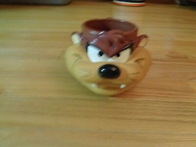 1992 Looney Tunes Taz Coffee Mug Tazmanian Devil Cartoon Face 3-D Cup
