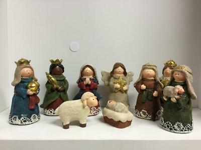 New - Christmas Mini Nativity Set 9 Pieces - 8Cm