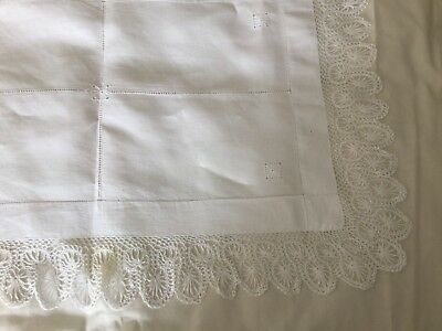 vintage shabby chic large cotton and  lace table cloth 67 x 47 cm white