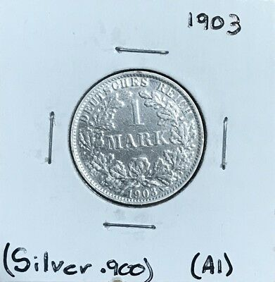1903 A, GERMAN EMPIRE 1 MARK WILHELM II - Excellent Silver Coin  .900 - Lot #A1