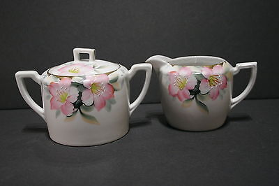 Vintage Noritake MARUKI Azalea 19322 Creamer & Covered Sugar SET, Red Mark, MINT